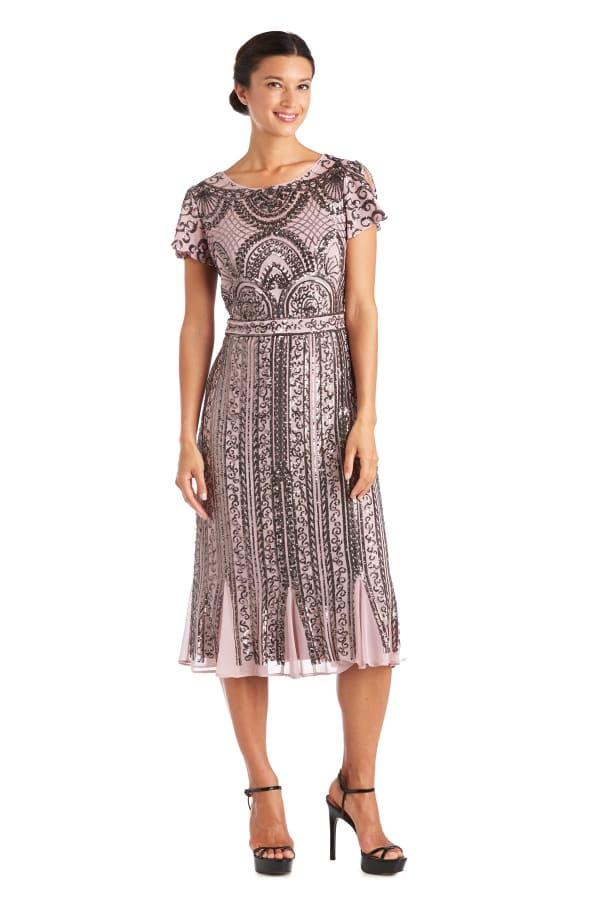 Godet Inserts Mesh Beaded Dress - Petite - Mauve - Front