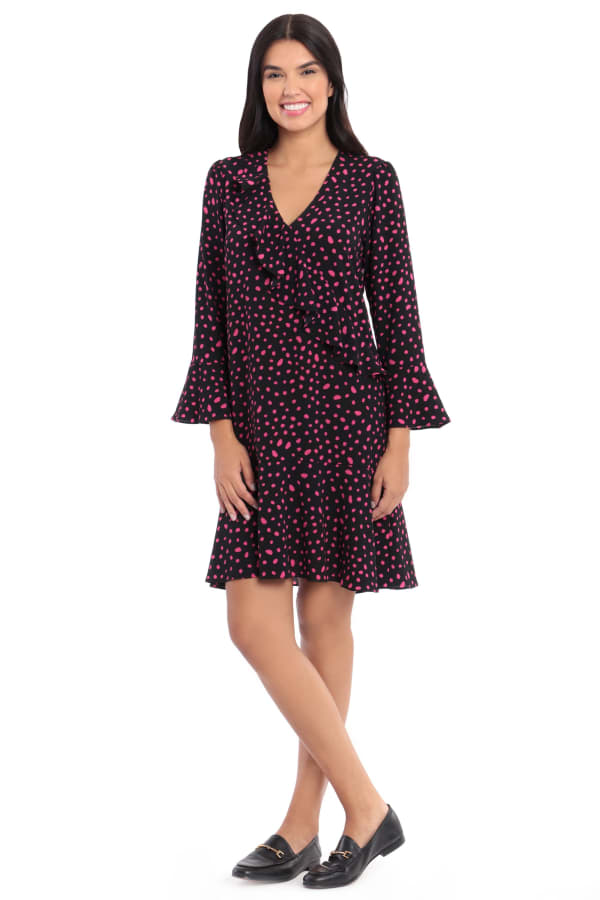 Layla Bell Sleeve Dot Crepe Ruffle Shift Dress - Black Petunia - Front