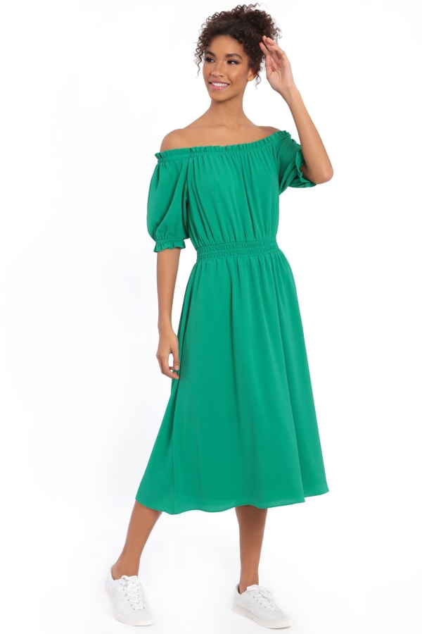 Alexis Off the Shoulder Puff Sleeve Midi Dress - Green - Front