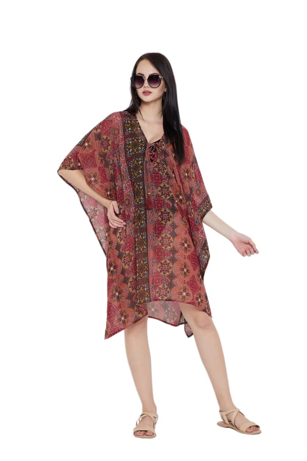 Casual Cover-Up Swimsuit Beach Dress - Brown - Front