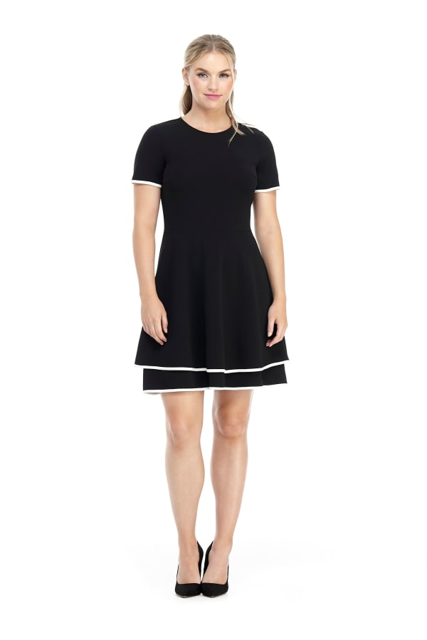 Katy Short Sleeve Two Tiered Fit and Flare Dress - Petite