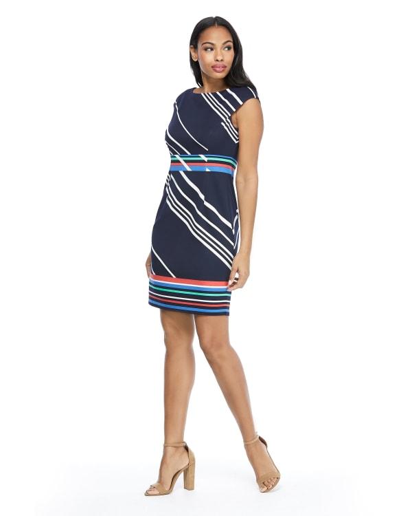 Courtney Cap Sleeve Stripe Border Print Sheath Dress - Petite