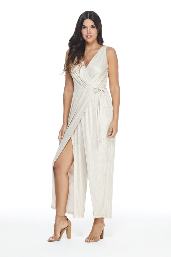 Annie Sleeveless V-Neck Bodice Wrap Slit Leg Jumpsuit - Petite - Taupe - Front