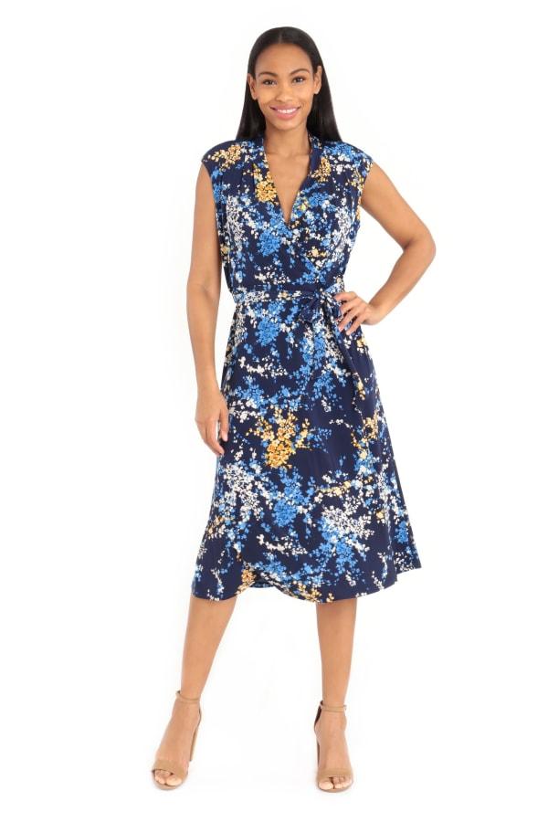 Madeline Cap Sleeve Wrap Midi Dress with Tie Waist Dress - Petite
