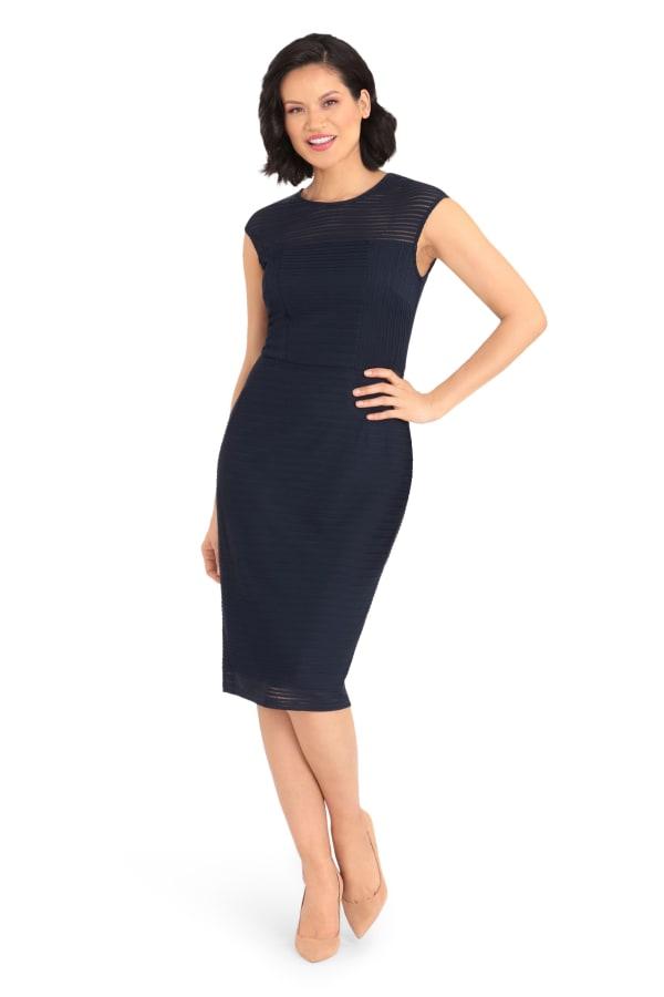 Abbie Cap Sleeve Sheath Midi Dress  - Petite - Navy - Front