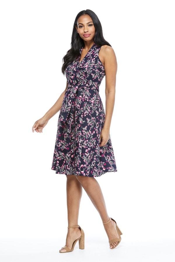 Karen Spring Buds Halter Fit and Flare Tie Waist Dress - Petite - Navy / Pink - Front
