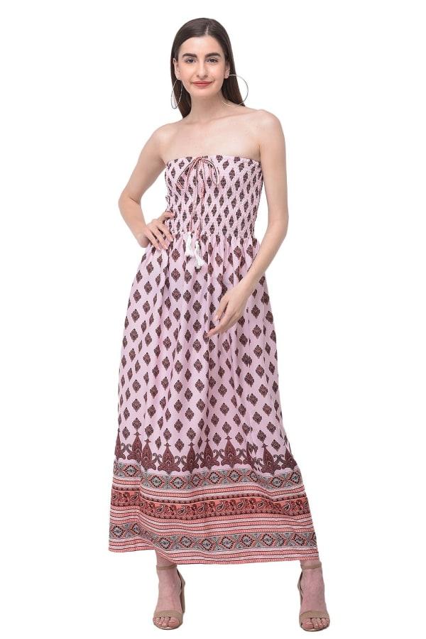 Long Beach Pink Strapless Tube Dress