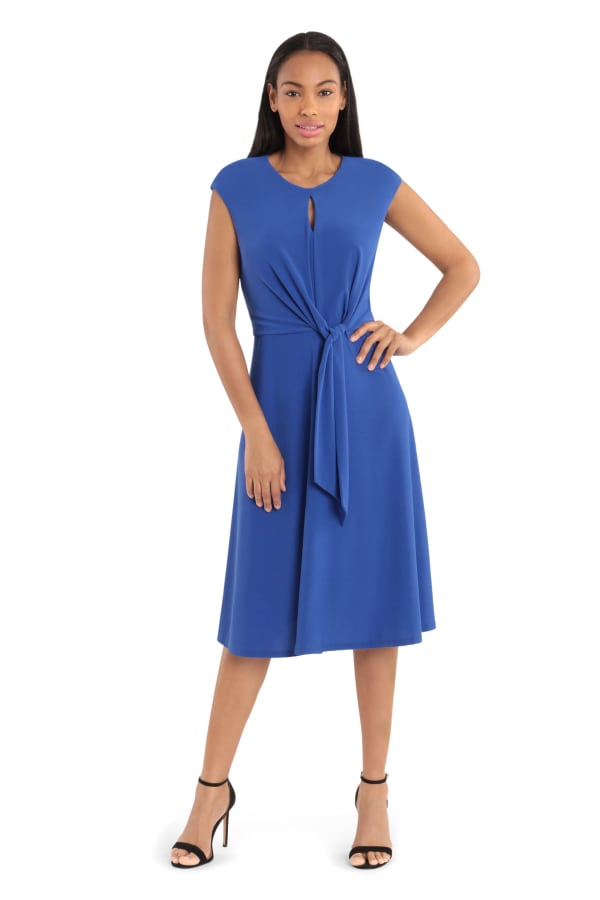 Jaqueline Extended Cap Sleeve Midi Fit and Flare with Side Tie Dress - Petite - Blue - Front