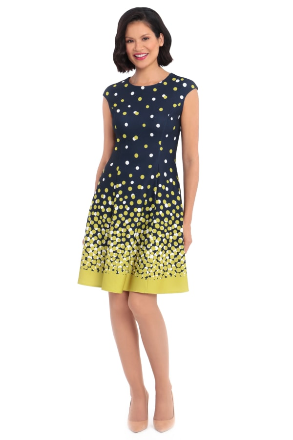 Cindy Ombre Dots Fit and Flare Dress - Petite
