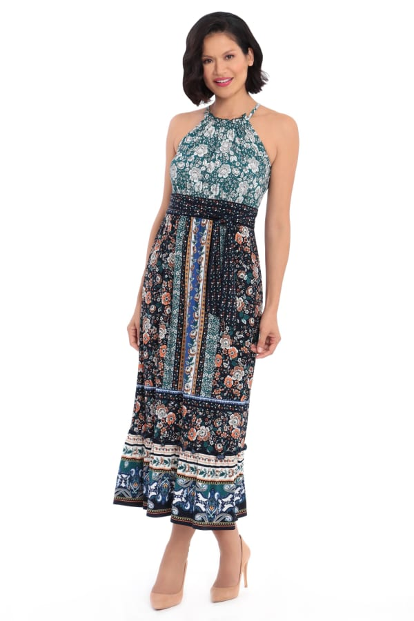 Darby Floral Stripe Halter Jersey Maxi Dress - Petite - Navy / Orange - Front