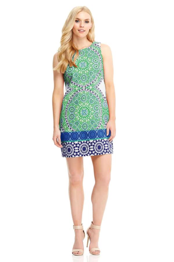 Cecilia Flower Tile Cotton Shift Dress - Petite