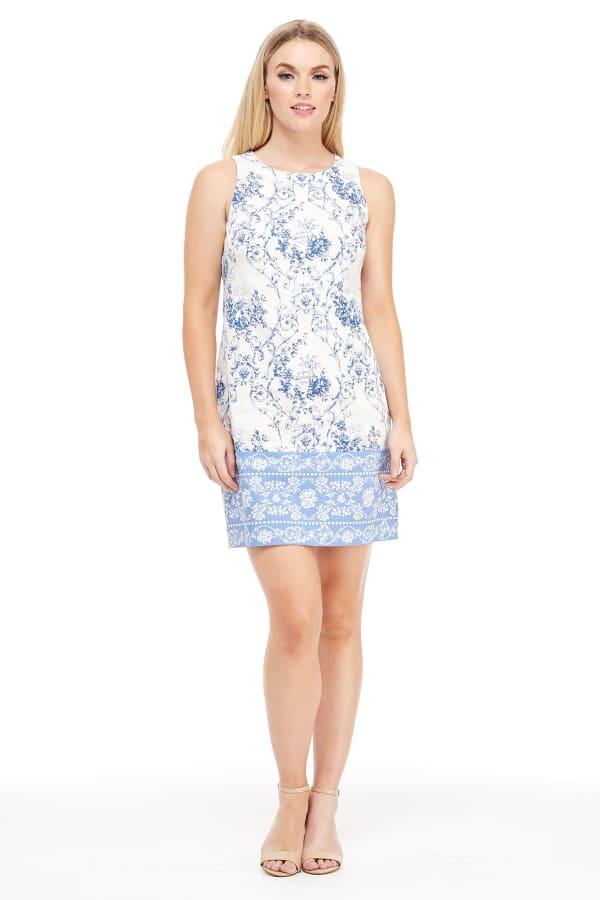 Vivian Toile Cotton Shift Dress - Petite