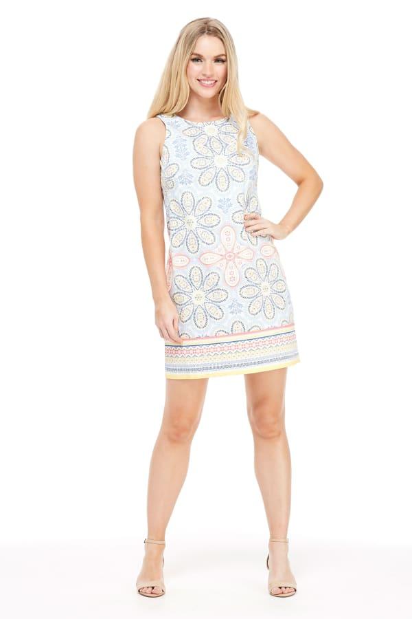 Taylor Folkloric Floral Cotton Shift Dress - Petite