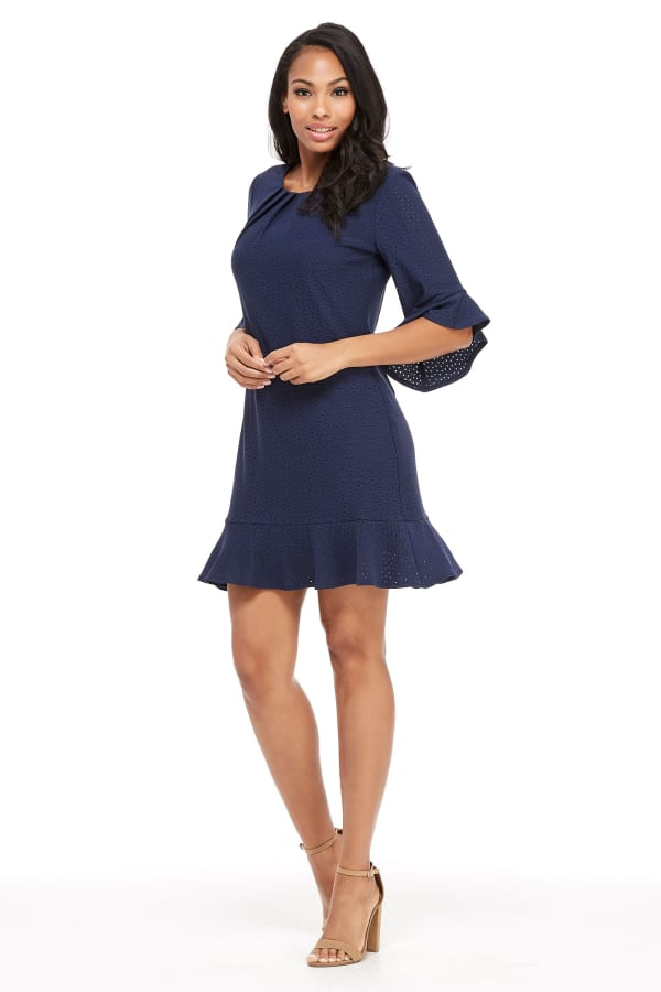 Debbie Pleated Neck Bell Sleeve Flounce Hem Dress - Petite