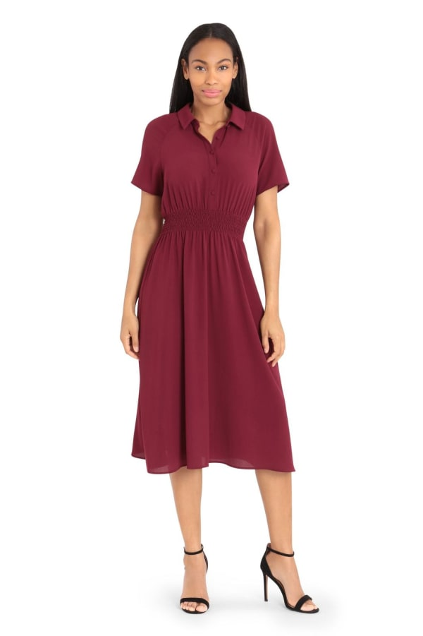 Monica Smock Waist Midi Shirt Dress - Petite