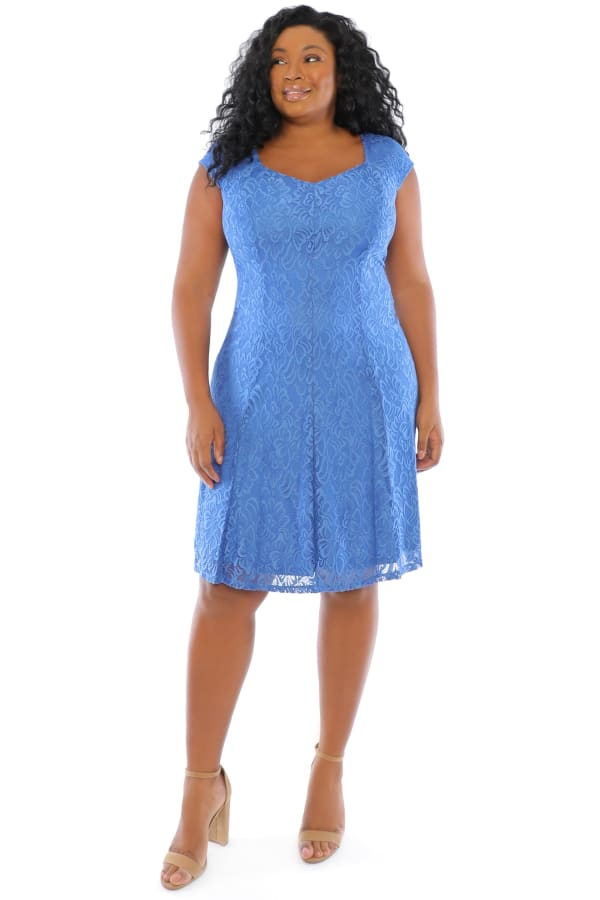 Lola Lace Cap Sleeve Fit and Flare Dress - Plus - Cobalt - Front