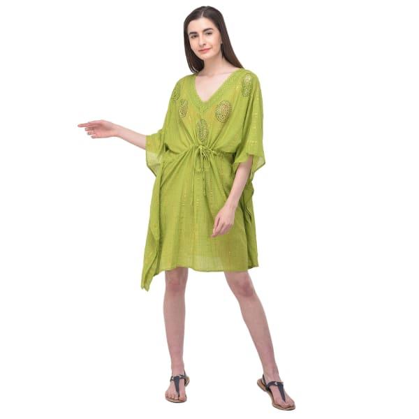 Summer Cover-Up Swimsuit Beach Dress - Green - Front