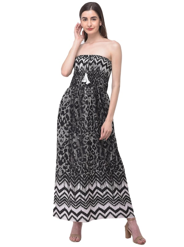 Strapless Black Beach Cover Up Solid Long Tube Dress - Black - Front
