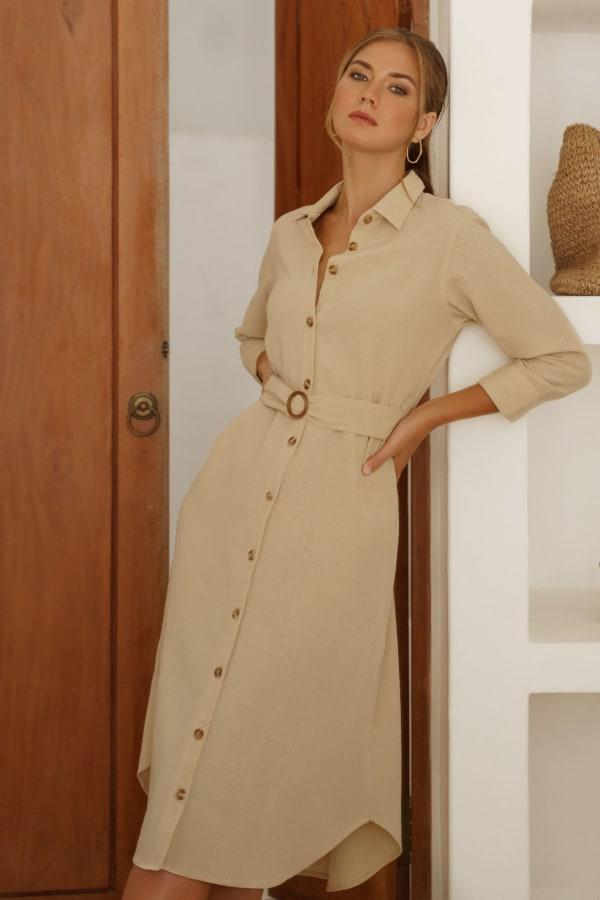Jess Long Sleeves Button up Shirt Dress - Plus - Beige - Front