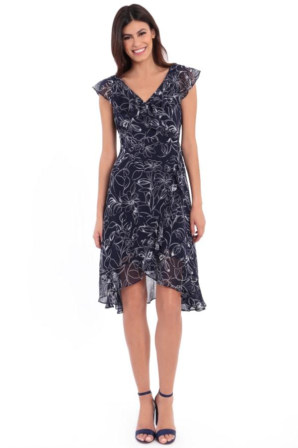 Bailey V-Neck Ruffle Wrap Dress - Petite