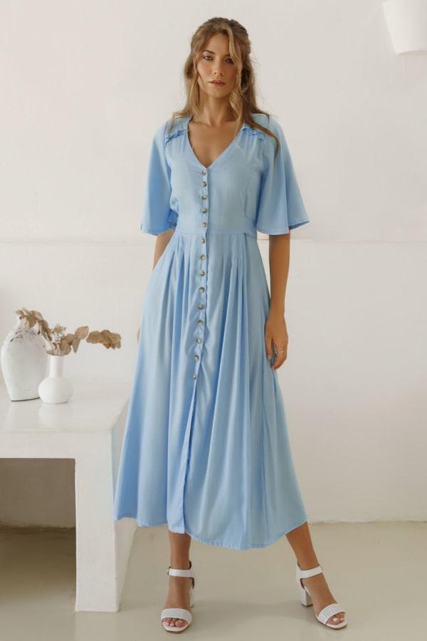 Lola Button Up Midi Dress - Plus - Soft Blue - Front