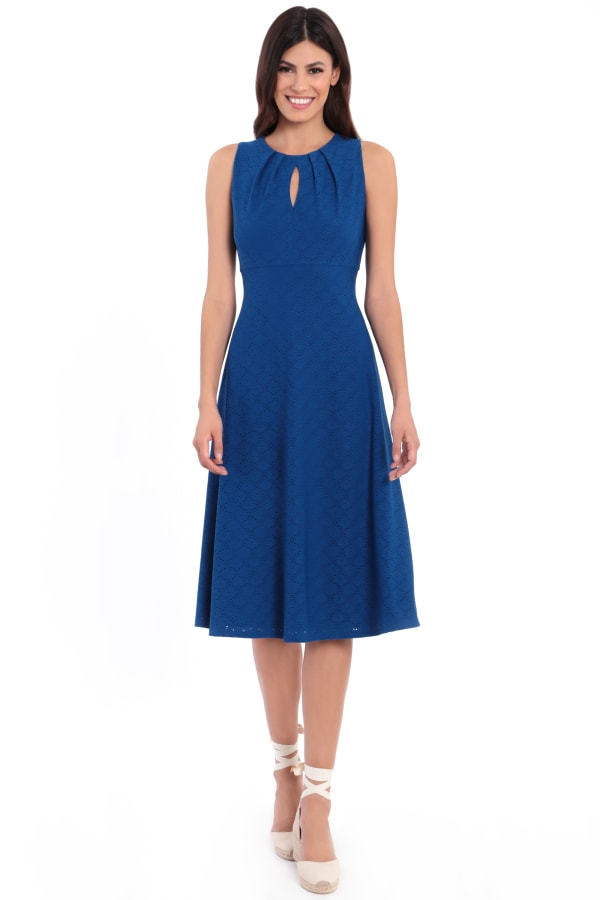 Vanessa Pleat Neck Keyhole Midi Dress - Petite