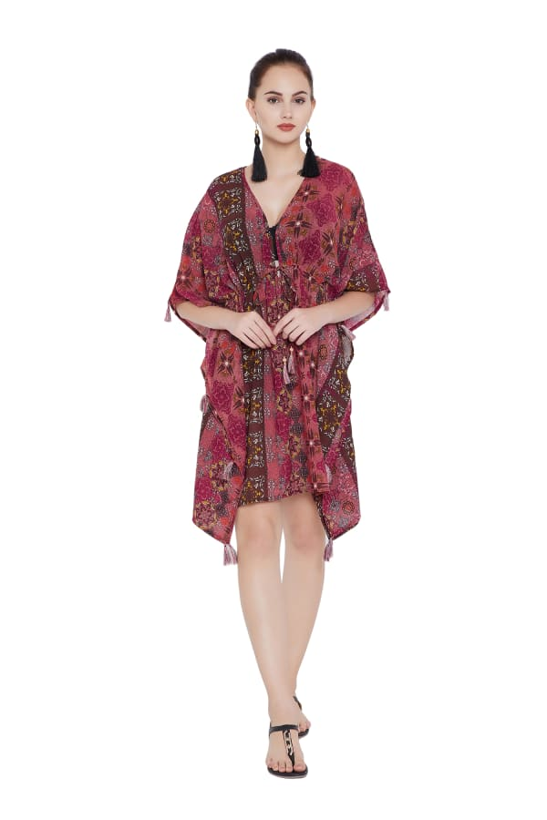 Midi V-neck Beach Cover-Up - Brown - Front