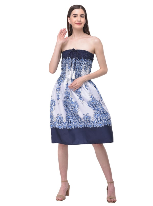Blue Strapless Beach Cover Up Tube Dress