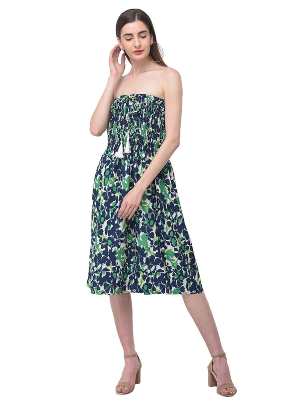Green Floral Strapless Midi Tube Dress -Green - Front