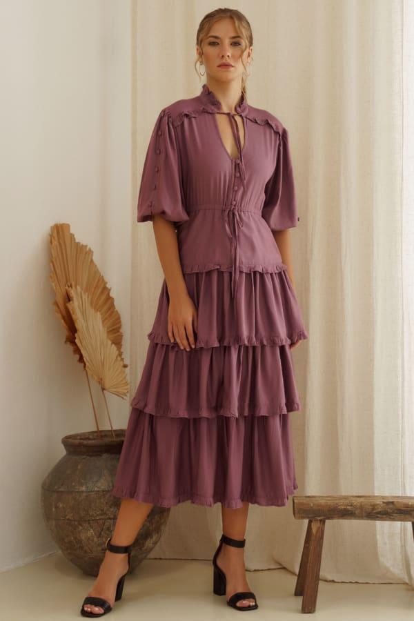 Wild West Ruffle Midi Dress - Plus - Plum - Front