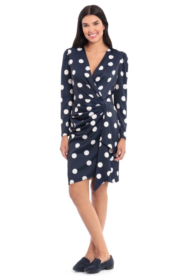 Samantha Charmeuse Dot Print Gathered Long Sleeve Sheath Dress