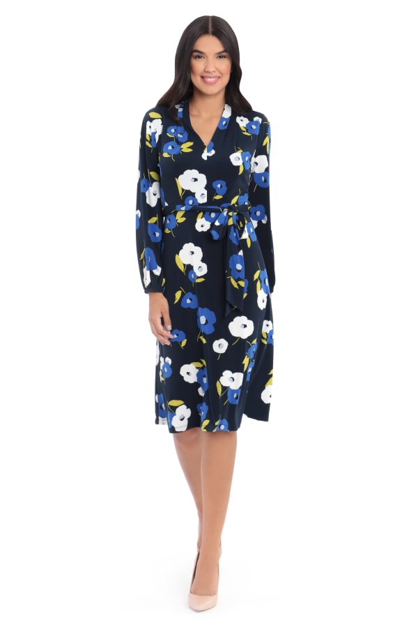 Charlotte Floral Waist Tie Long Sleeve Jersey Fit and Flare Dress - Navy Lapis - Front