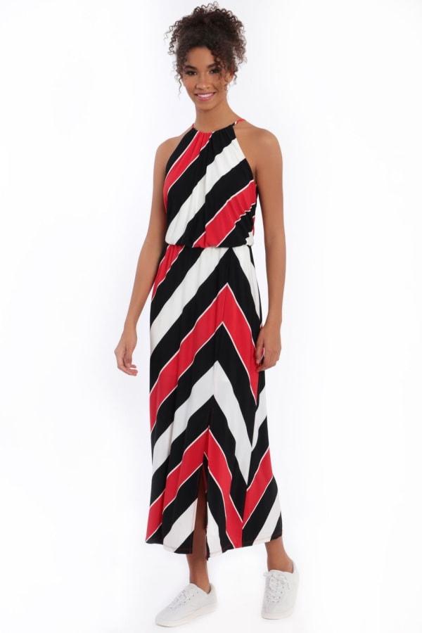 Hallie Blouson Halter Front Slit Maxi Dress