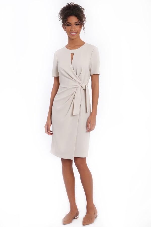Annalise Short Sleeve Side Tie Overlay Dress - Horn - Front