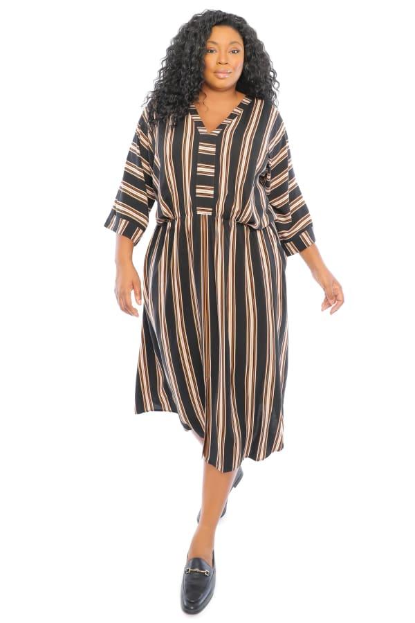 Lilian V-Neck Dolman Sleeve Kaftan Maxi Dress with Slit - Plus - Black / White - Front