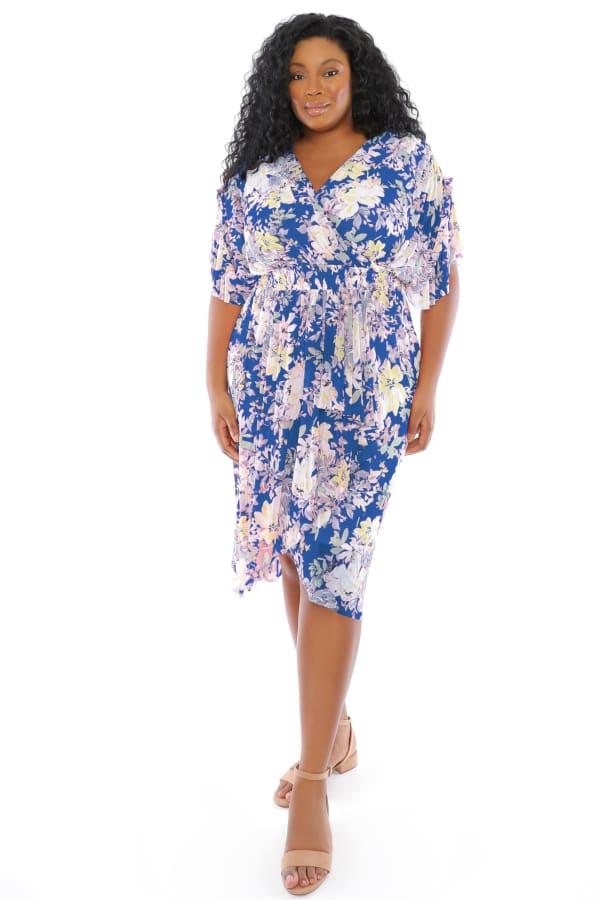 Christina Floral Smock Waist Wrap Midi Dress - Plus - Blue / Multi - Front
