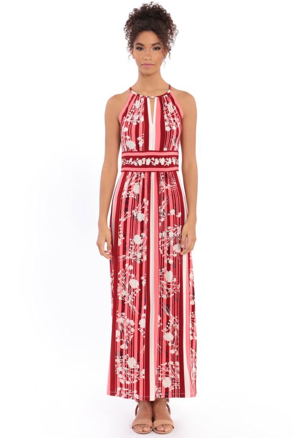 Parker Floral Stripe Halter Maxi Dress - Petite