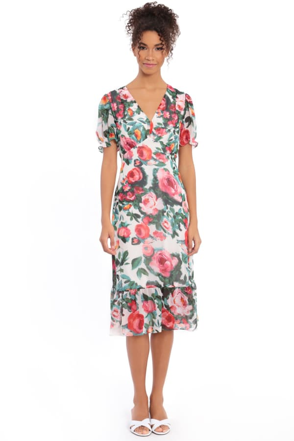 Lori Floral Puff Sleeve Empire Flounce Midi Dress - Petite - Beige / Pink - Front