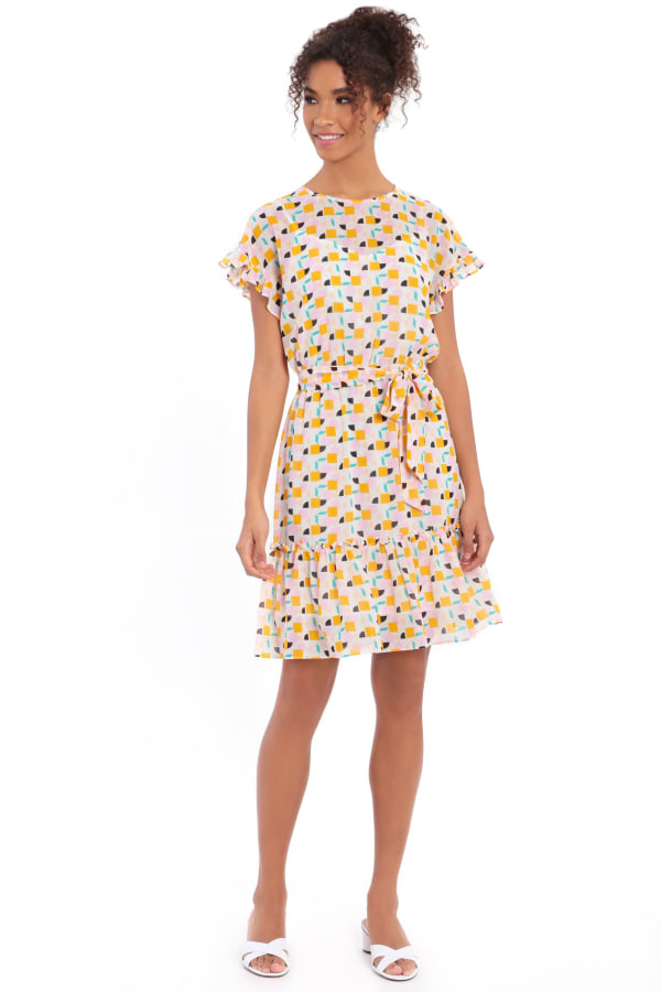 Audrey Drop Shoulder Jewel Neck Elastic Waist Ruffle Dress - Ivory / Gold - Front