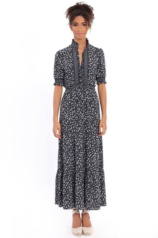 Dana Smocked Puff Sleeve Ruffle Neck Tiered Midi Dress