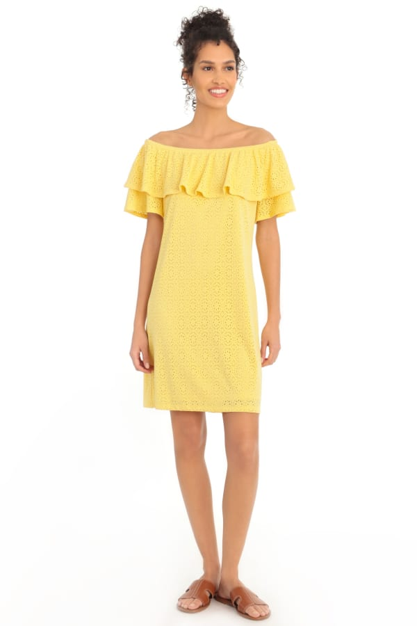 Jasmine Embroidered Off the Shoulder Ruffle Shift Dress - Yellow - Front