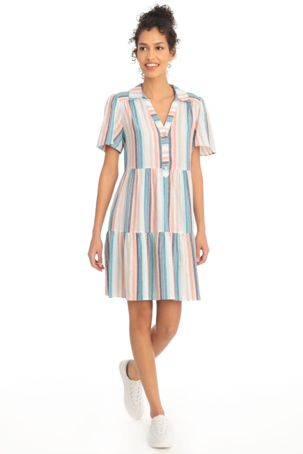 Phoebe Metallic Rainbow Stripe Tiered Babydoll Shirtdress - Rainbow - Front