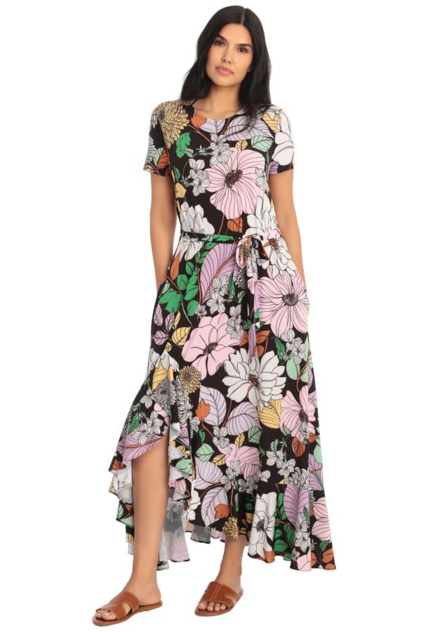 Cassie Floral Side Flounce Tie Sash T-shirt Maxi Dress