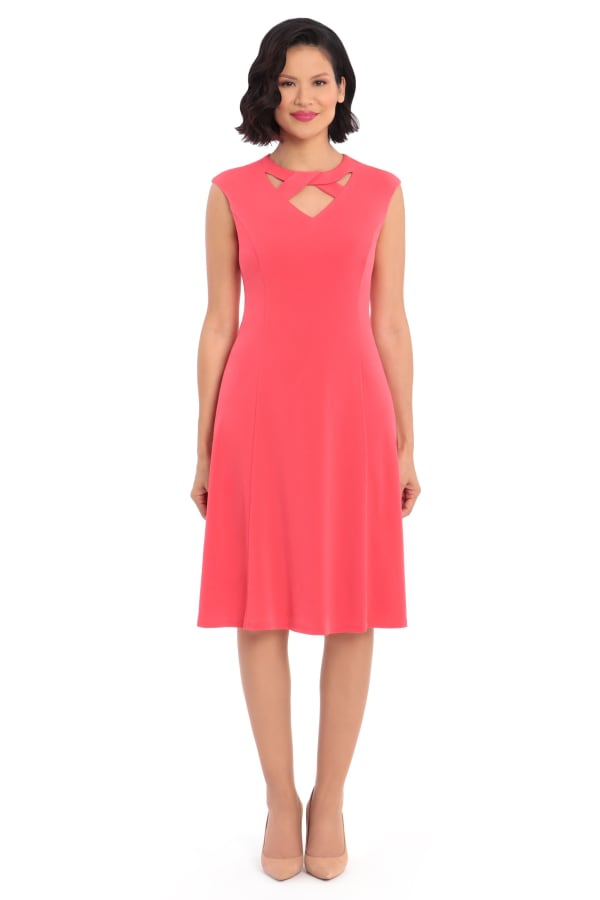 Ashley Cut Out Neck Fit and Flare Dress