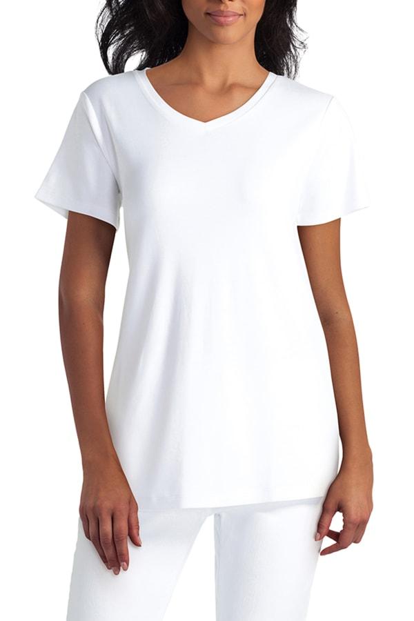 Isaac Mizrahi Short Sleeve V-Neck Pullover T-Shirt - White - Front