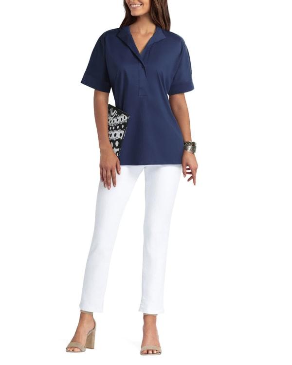 Isaac Mizrahi Dolman Sleeve Blouse - Classic Navy - Front