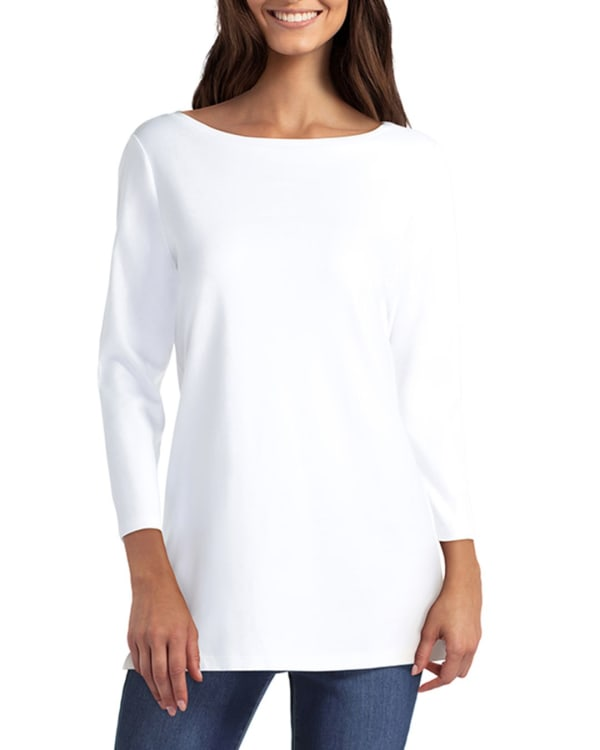 Isaac Mizrahi 3 Quarter Boat Neck Pullover - White - Front