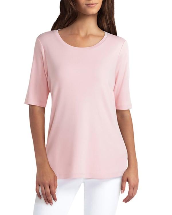 Isaac Mizrahi Scoop Neck Elbow Sleeve Pullover - Mellow Rose - Front