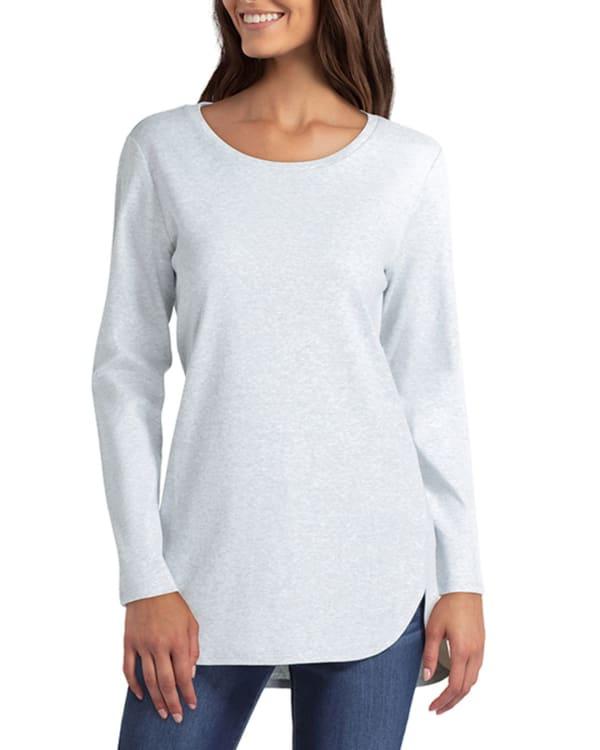 Isaac Mizrahi Long Sleeve Scoop Neck Overlapping Hem Pullover - Heather Gray - Front