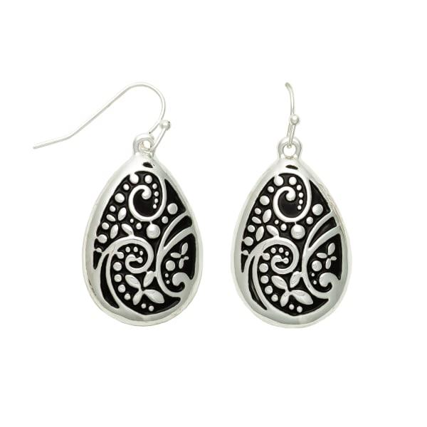 Museum Collection Silver Teardrop Bali Swirl Drop Earrings
